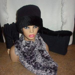 Wool Blend & Faux Fur Pillbox Hat & Faux Fur Scarf